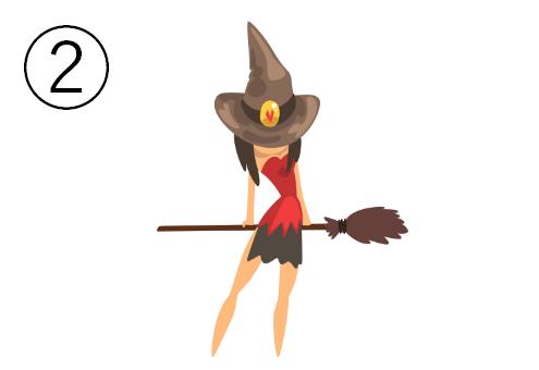 ホウキを後ろ手で持つ魔女