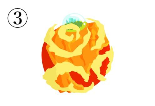赤、黄色、オレンジの、一箇所だけオアシスのような島のある惑星