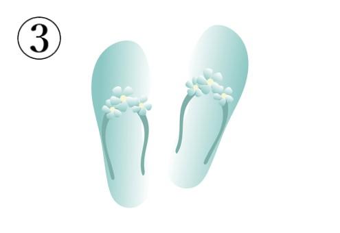 細かい花付きの水色のビーチサンダル