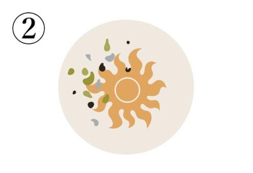 グレー、抹茶色、黒の模様、オレンジの太陽が描かれたアイコン