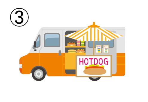 ホットドッグのフードトラック