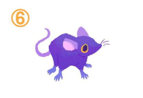 キョロキョロする紫のネズミ