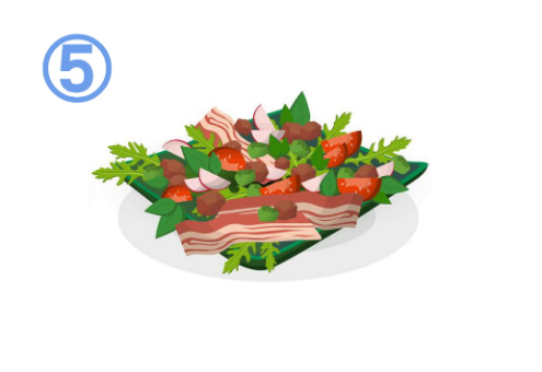 ベーコン、トマト、ラディッシュ等のサラダ