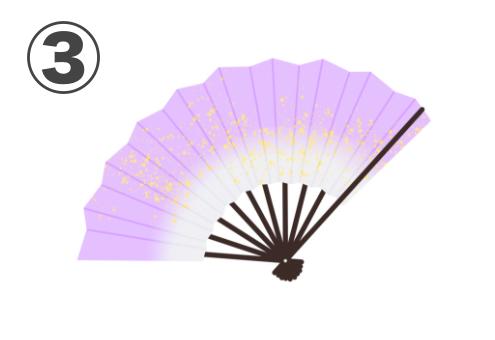 紫と白のグラデーションな、金が散りばめられている扇子