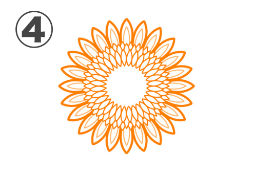 花びらに線、中心部が白いひまわり