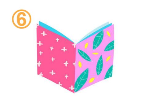 左はショッキングピンクに白キラキラ柄、右はピンクに緑の葉っぱ柄、中は水色の本