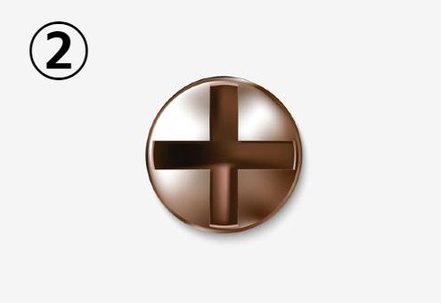 十字溝のある銅のネジ