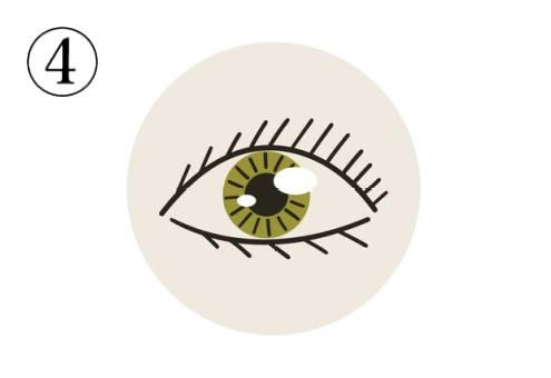 抹茶色の瞳、黒い線で描かれた目のアイコン