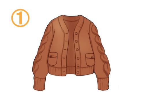 茶色のニットジャケット