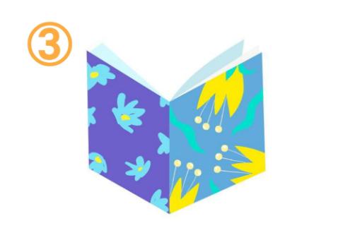 左は紫に水色の花柄、右はくすみブルーに黄色のチューリップ柄、中は薄水色の本