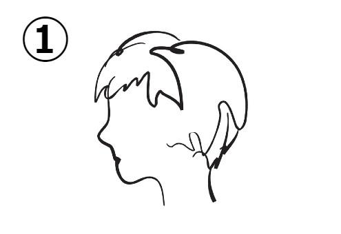 ショートヘアの、真顔の女性の横顔