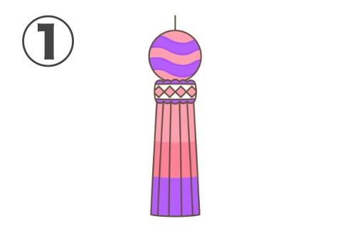 ピンク、紫メインの、なみ線のある七夕飾り
