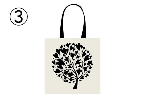 ハート型の葉の木が描かれた白トート