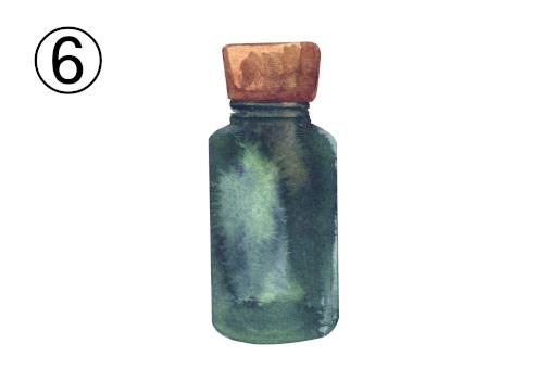 茶色キャップの深緑のボトル