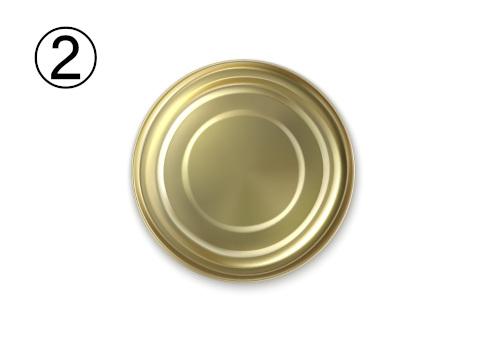 底が正面を向いた金の缶