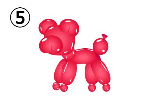 赤い犬のバルーンアート