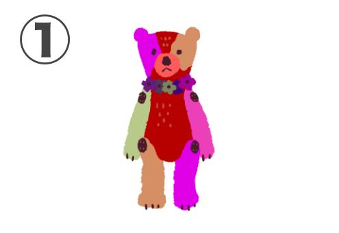 赤、ピンク、黄緑、ベージュのクマちゃん