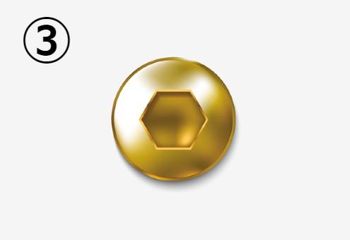 六角形の溝のある金の丸いネジ