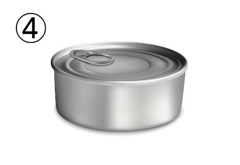 シルバーの平たい缶