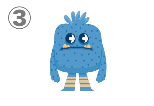大きめの潤んだ瞳、黄色い牙、足に黄色いボーダー柄、医師のような四角い見た目の青いモンスター