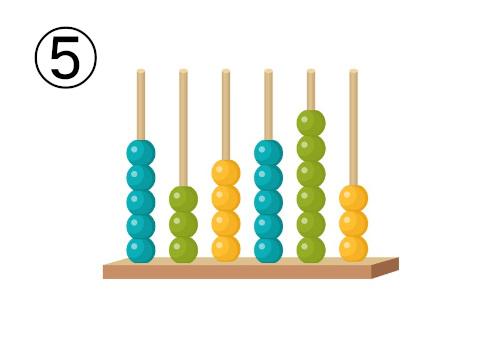 縦型の、ターコイズ、黄緑、黄色の玉のそろばん