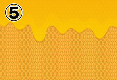 細かいハチの巣柄に、はちみつがたれている背景