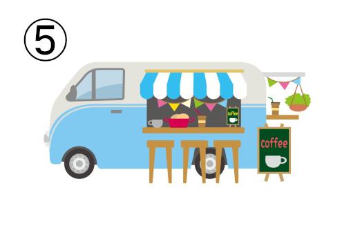明るいカフェのフードトラック