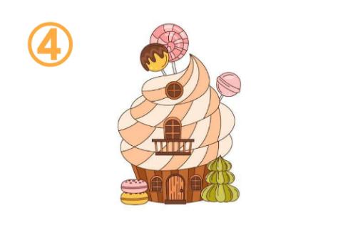 ソフトクリームのような屋根のお菓子の家