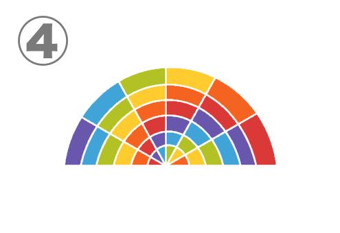 細かく配色が別れた虹