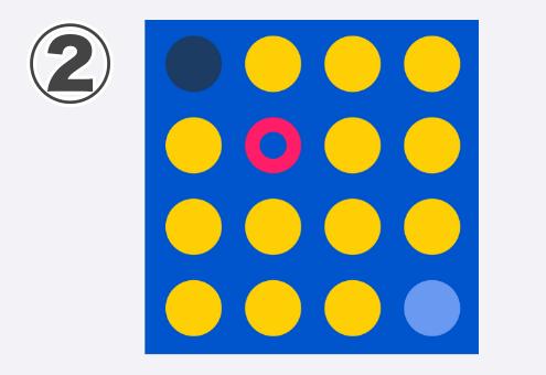 青地に黄色、ネイビー、水色丸、赤リング