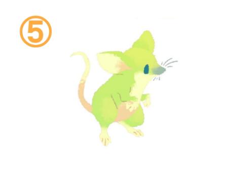 二本足で立つ黄緑のネズミ