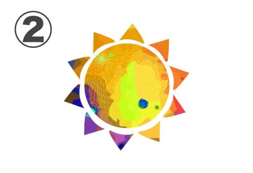 黄色、オレンジ、紫の太陽