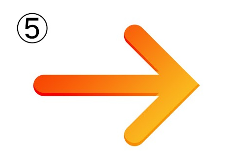 赤、オレンジ、黄色のグラデーションの矢印