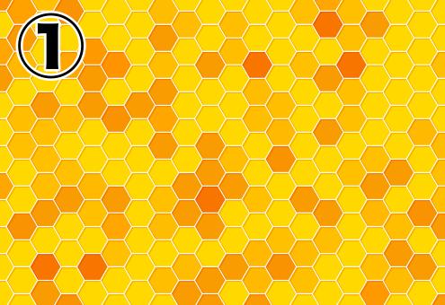 所々色の違うハチの巣柄の背景