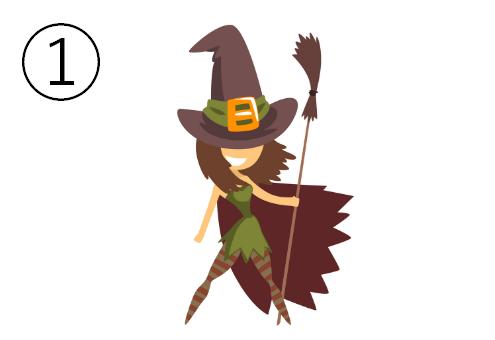 ホウキを持ち、ポーズを決める魔女