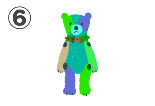 緑、黄緑、青紫、ベージュのクマちゃん