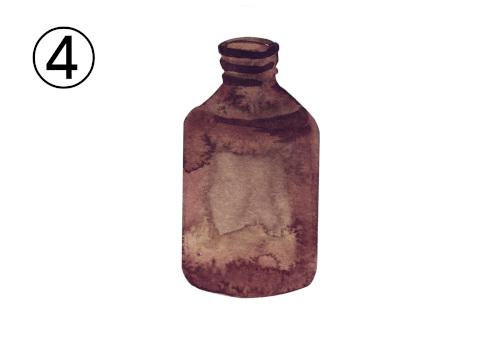蓋のない焦げ茶ボトル