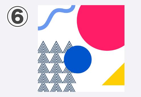 ショッキングピンクと青の丸、三角の柄、黄色三角、水色波線