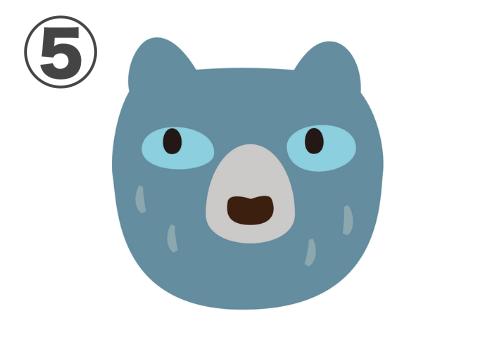 上を向いたくすみブルーのクマ