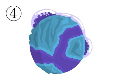 紫とターコイズの、怪しげな惑星