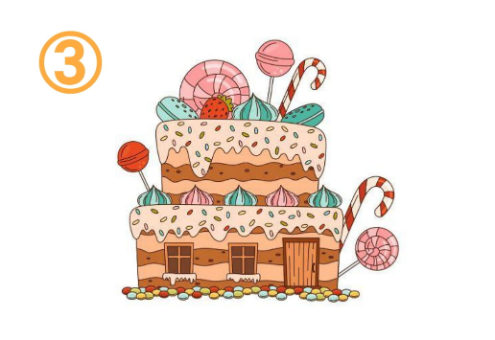 二段ケーキにキャンディがたくさん刺さったようなお菓子の家