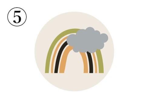 グレーの雲、抹茶色、黒、オレンジで描かれた虹のアイコン