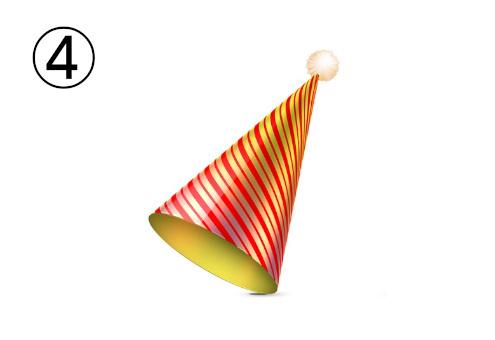 白丸付き赤地に金の斜線柄のパーティー帽