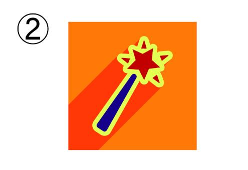赤の星、ネイビーの柄、黄色縁、オレンジ背景のステッキ