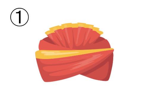 赤と黄色の大きめターバン