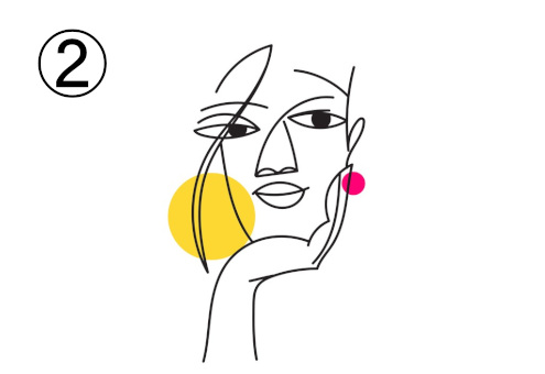 頬杖をつく女性