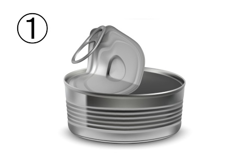 蓋の開いたシルバーの平たい缶