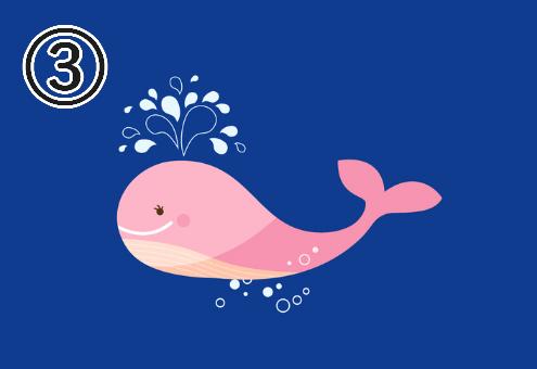 青背景に、ピンクのクジラ