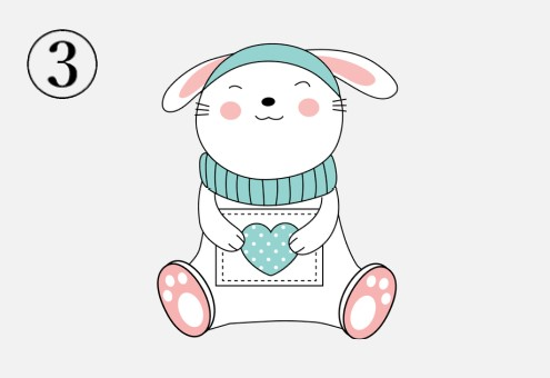 ハートのパッチワークを持つウサギ