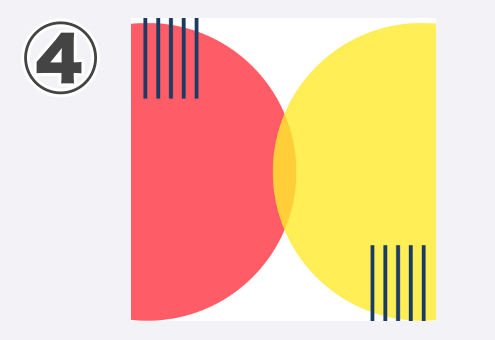 コーラル、黄色半円、短いストライブ柄